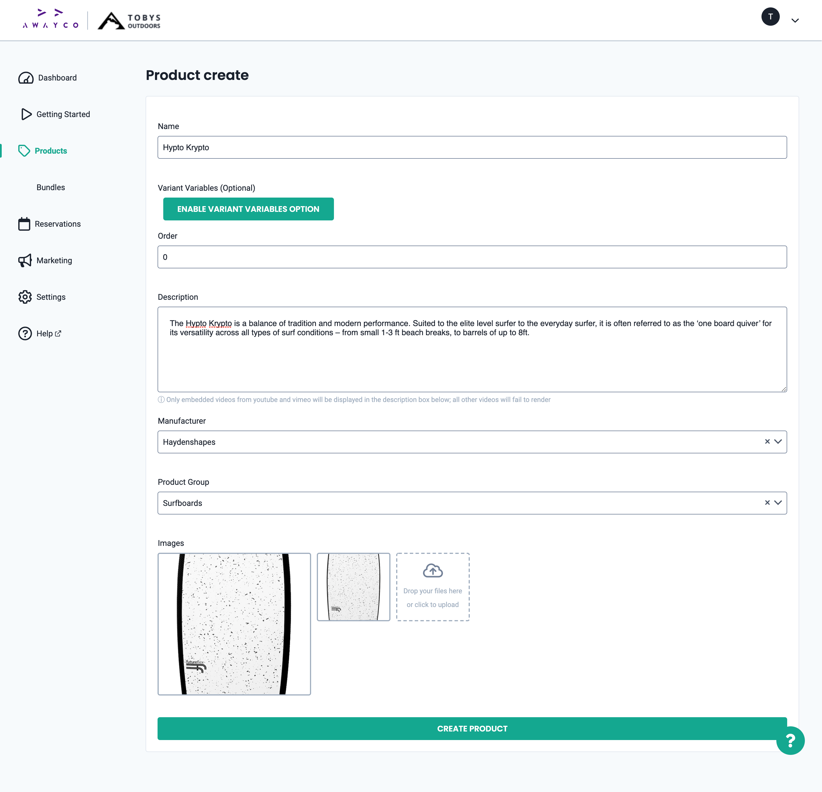 Product creation page in the Admin app.